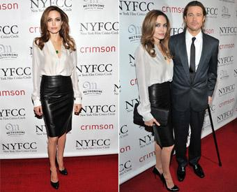 Stylish Angelina Jolie sizzles in leather skirt