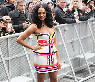 Alesha Dixon defying the cold in a mini-dress