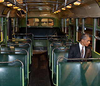 Barack Obama steps back in time on Rosa Parks bus