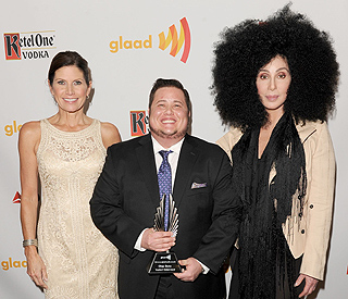 Cher supports son Chaz Bono in hair raising style