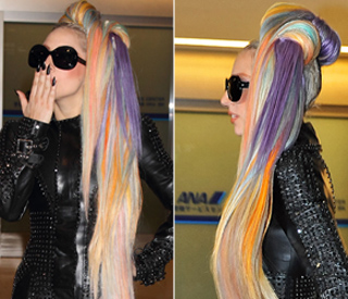 Lady Gaga shows off rainbow-coloured mane in Japan