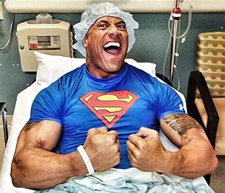 Dwayne Johnson bounces back from abs op