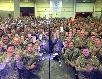 Ed Sheeran performs for the troops in Afghanistan