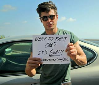Zac Efron giving away first car for charity
