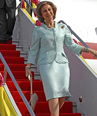 queen sofia, spain, ryanair, fly, cheap, budget, cost, Santander, London, brother, Constantine, royals