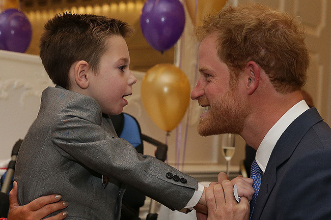 Prince Harry with Ollie Carroll at 2016 WellChild awards