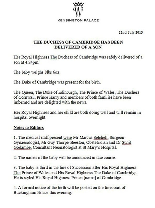 prince-george-press-release-birth-announcement