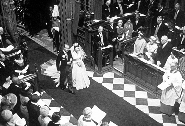 prince philip walking princess margaret up the aisle