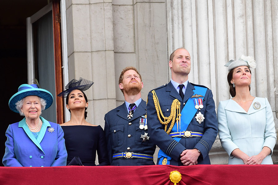 Royals watching flypast