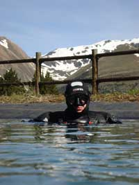 Mountain lake diving, Andorra