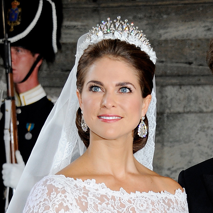 Princess Madeleine of Sweden wore the Modern Fringe tiara instead of the family's traditional wedding topper, the Cameo. Its multiple peaks are dotted with round diamonds and it's said to have been an anniversary present to Queen Silvia from her husband. This wasn't the first time Madeleine sported this exquisite tiara; she also wore it to Prince Albert and Charlene's wedding in 2012.    