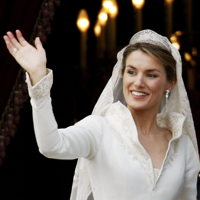 Before becoming Queen in 2014, Letizia of Spain wed Felipe VI wearing the family's Prussian Diamond tiara. It is the same headpiece that mother-in-law Queen Sofia wore on her wedding day. The platinum-and-diamond tiara has become a staple accessory for the Spanish aristocrat, who often wears it at weddings and other formal occasions.