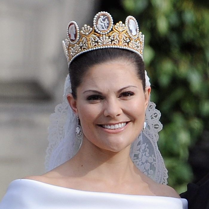 Prince Carl Philip's older sister, Crown Princess Victoria, followed in her mother's footsteps by wearing the monarchy's prized gold-and-pearl Cameo tiara for her wedding to Prince Daniel in 2010. The 18th-century stunner first belonged to Napoleon I's first wife, Empress Josephine of France. It became part of Sweden's jewelry collection by way of Josephine's granddaughter, Josephine of Leuchtenberg, who married Sweden's King Oscar I in 1823.