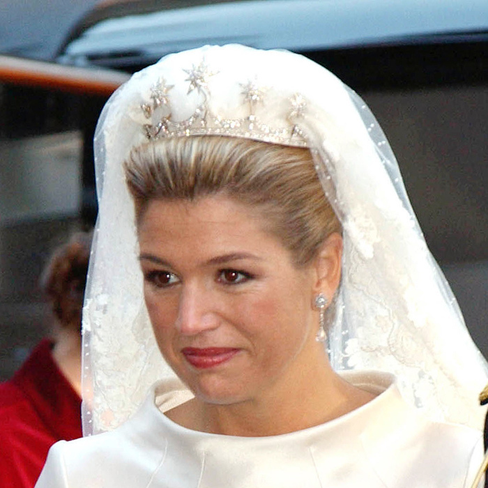 The Netherlands' Queen Maxima loves tiaras, and she wears a bigger variety of the regal sparklers than any other European royal. For her wedding in 2002 she wore a piece created using the base of the Pearl Button tiara and 10 diamond star brooches that belonged to Queen Emma of the Netherlands.  