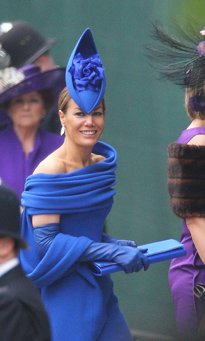 The late Tara Palmer-Tomkinson looked bonny in blue as she happily attended the Royal Wedding of Prince William and Duchess Kate at Westminster Abbey on 29 April, 2011. She opted for a bright cobalt blue design in a unique pointed shape that certainly stood out from the crowd! She matched all her other accessories, including elbow-length gloves and a classic shawl.