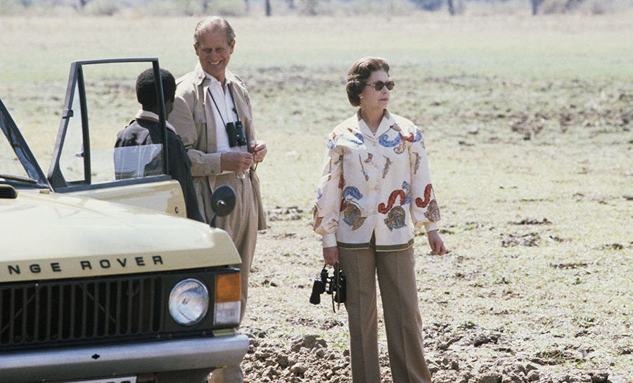 <p>A rare photo of the Queen in beige trousers during a safari with Prince Phillip in 1979. The couple were on a state visit to Zambia.</p>
