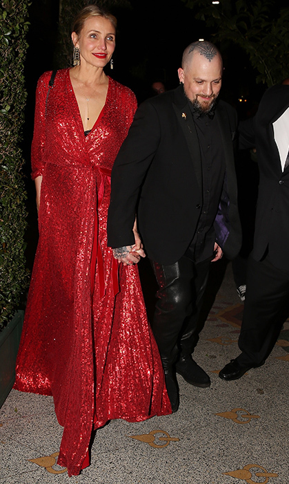 <p>Cameron Diaz brought along hubby Benji Madden for the engagement party, days after joining BFF Gwyn in Mexico for a sunny bachelorette party. The <em>Charlie's Angels</em> star looked red hot in this glittery number!</p>