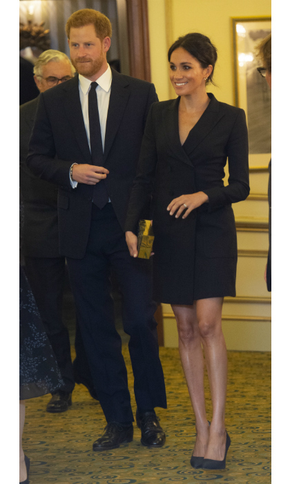 To kick off her calendar of fall engagements, the Duchess of Sussex turned to Canadian brand Judith & Charles to make a stylish splash at a showing of <i>Hamilton</i> in London's West End. Meghan paired the elegant tuxedo dress with Paul Andrew pumps, a black clutch and gold Shaun Leane earrings.  