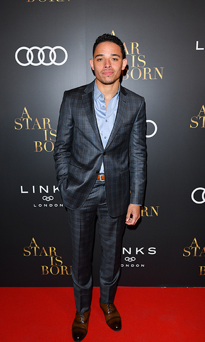 Anthony Ramos of <em>A Star Is Born</em> looked handsome as ever in a blue suit. He was attending the film's pre-party.