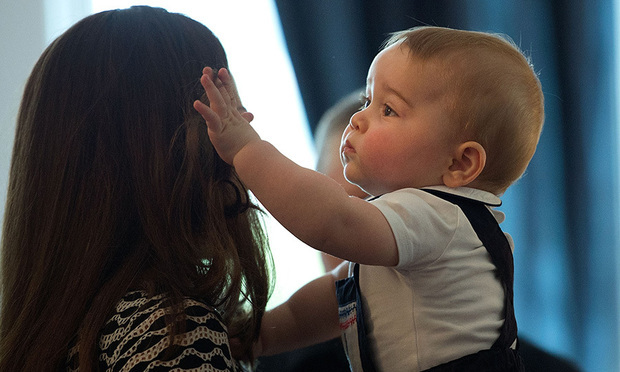 "Mom's luscious locks: When Prince George was born, his dad said this to reporters outside the hospital: ""He's got his mother's looks, thankfully. He's got way more hair than me."" And he does love his his mom's hair; he's even been photographed trying to gnaw on it!"