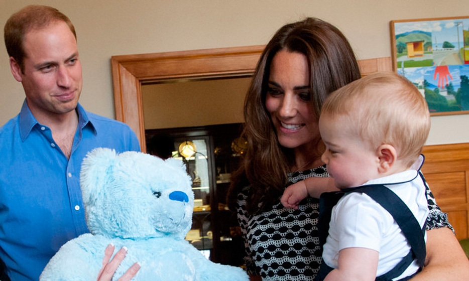 Teddy bears: Prince George was all too pleased to receive a stuffed blue teddy bear while on a playdate in Wellington, New Zealand.