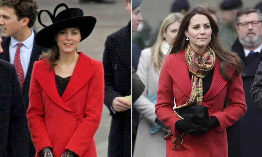 It seems this red Armani coat has stood the test of time in Kate's wardrobe. The duchess first wore it to attend Prince William's graduation from Sandhurst in 2006. Seven years later, she wore it again during a visit to Scotland.<br>