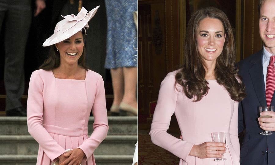 Kate loved this pink Emilia Wickstead dress so much she wore it twice in one month. Once at a Diamond Jubilee party at Windsor Castle and 11 days later to attend a garden party at Buckingham Palace.