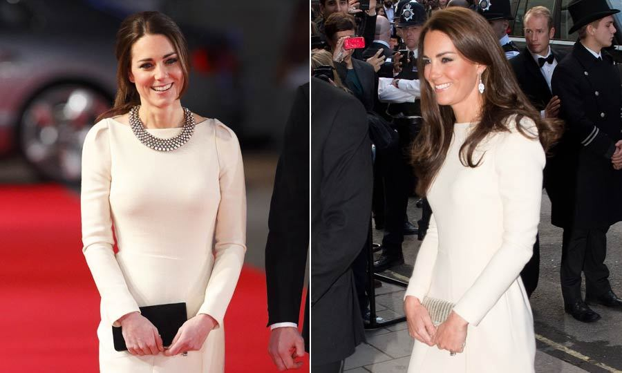 Kate added a sparkly Zara necklace to change up her look, left, when she wore this cream Roland Mouret gown for the second time.