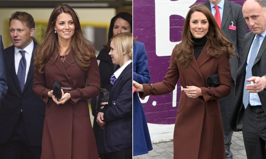 Kate wore this brown Orla Kiely coat for an outing in Liverpool, having worn it before to visit a children's hospital. Throwing a dark turtleneck on is one of the Duchess' fave (and simple!) styling tricks.