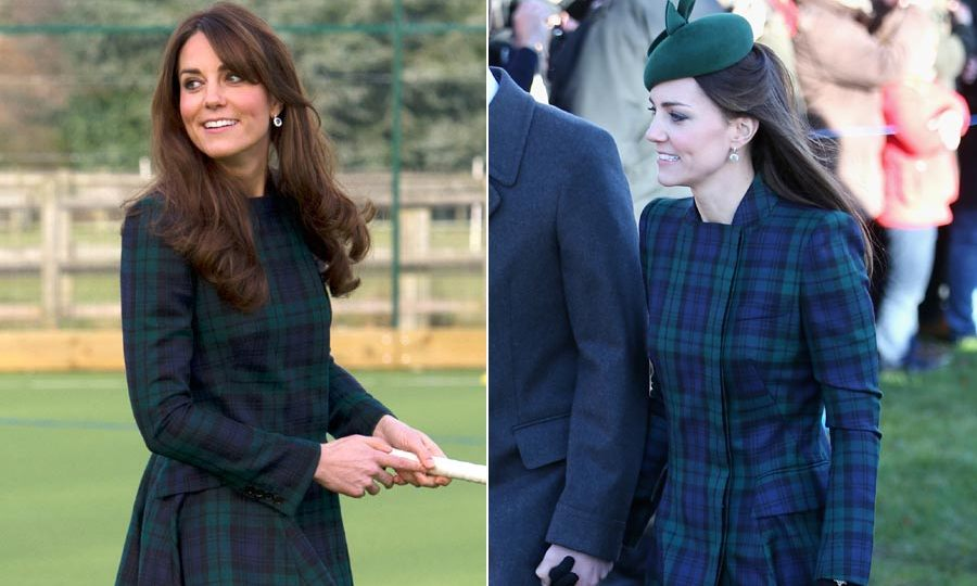 With her hair partially swept up underneath a hat, right, Kate sported this Alexander McQueen green tartan coat to attend a Christmas Day service in Sandringham. When she wore it to re-visit her old prep school in Berkshire it felt much less conservative, exuding a fun and casual vibe.<br>