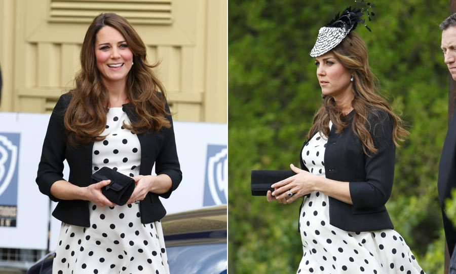 Kate proved she really is the queen of high-street fashion when she stepped out in this polka-dot Topshop dress twice during her pregnancy, an eye-catching fascinator turning it into a wedding-ready outfit. 