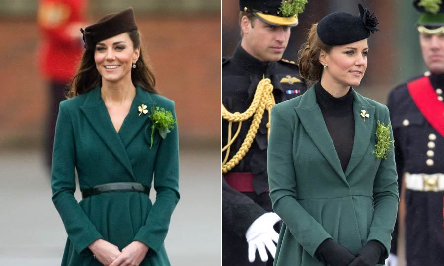 Kate wore this green Emilia Wickstead coat to attend the Aldershot Barrack's parade in 2012 and liked it so much she wore it again to the same event the following year. The only differences? Switching up the hat and adding a turtleneck underneath. 