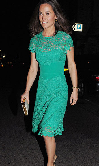 Duchess Kate's sister wore a gorgeous green lace dress with some nude pumps as she headed for dinner.