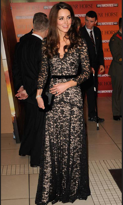 The Duchess looked lovely in a lace Temperley London dress at the War Horse premiere in January 2012.