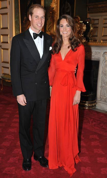 Kate looked red hot in a Beulah dress to attend a fundraising gala with Prince William in October 2011.