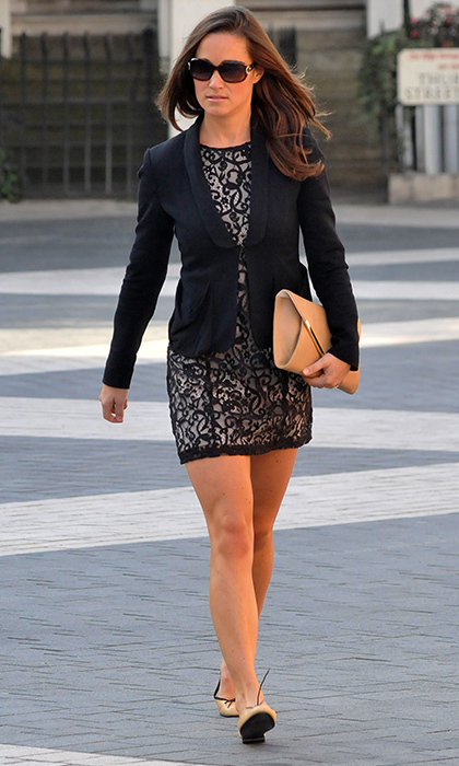 Pippa was all business in this navy-and-nude lace dress and navy blazer.