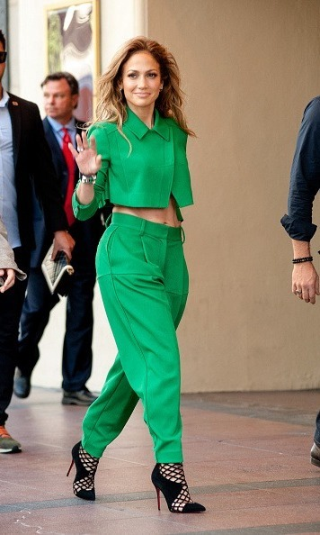 Jennifer Lopez Shows Off Toned Abs In Chic Green Suit