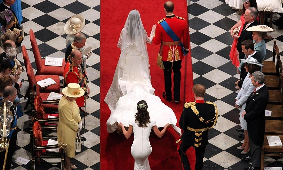 Just married! William, Kate, Pippa and Harry passed the royal family as they left the altar.