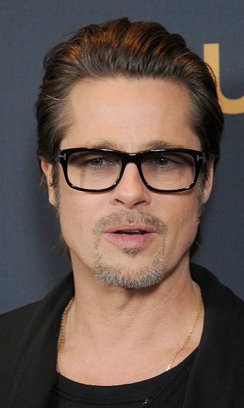 Meanwhile Brad 50 Looked Dashing In All Black Slicked Back Hair And Rimmed Glasses