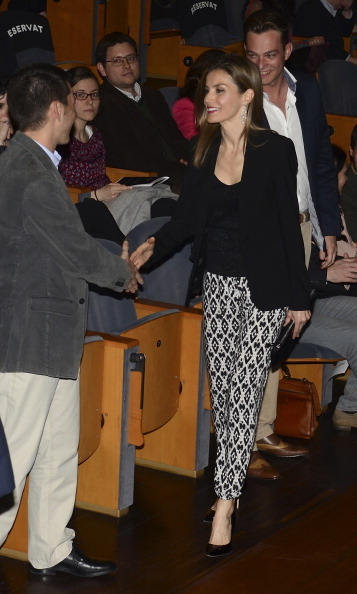 Look familiar? Queen Letizia opted to dress up her BOSS Orange drawstring pants with a blazer and heels for an event in Barcelona in March 2014.