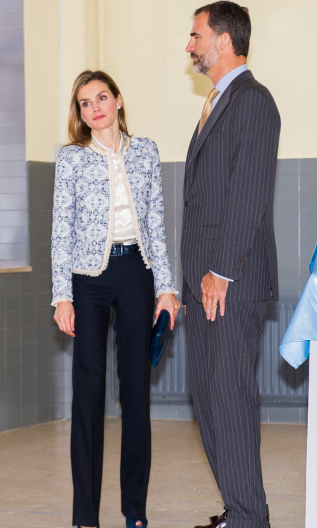 School is back in session! Letizia was feeling blue as she and King Felipe VI re-opened the school year in September 2014. She mixed and matched a Mango aztec print blazer and BOSS navy trousers for the occasion.
