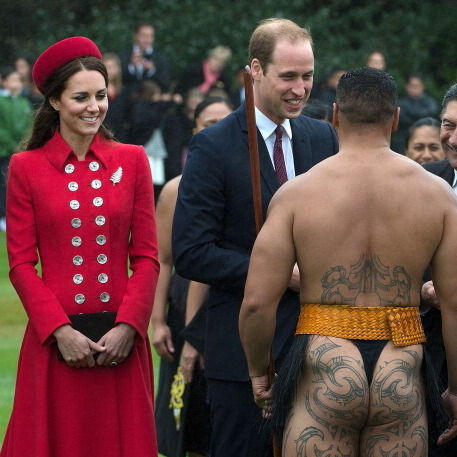 The royal couple didn't blink an eye while meeting a Maori warrior in New Zealand.