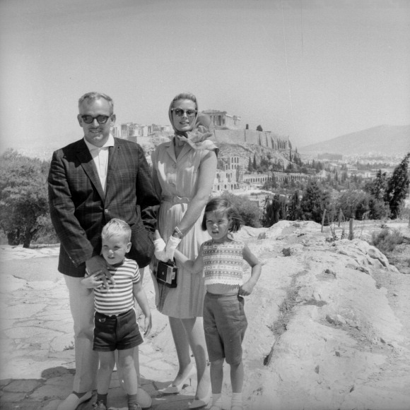 Princess Caroline, the first of Prince Rainier III and Princess Grace of Monaco's three children, was born on January 23, 1957. The Monaco royal family visited Athens in September 1961. Clockwise: Prince Rainier III, Princess Grace, Princess Caroline and Prince Albert.