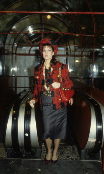 Caroline wore her best plaid while visiting London in 1986.