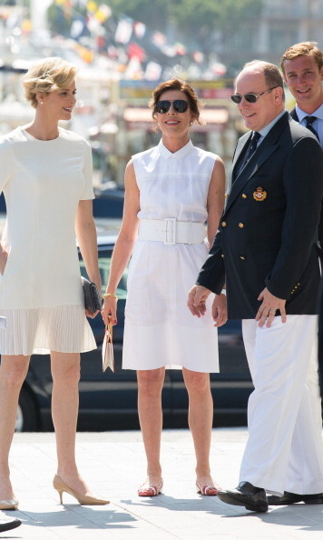 The Queen of Chic alongside brother Albert and sister-in-law Princess Charlene in June 2014.