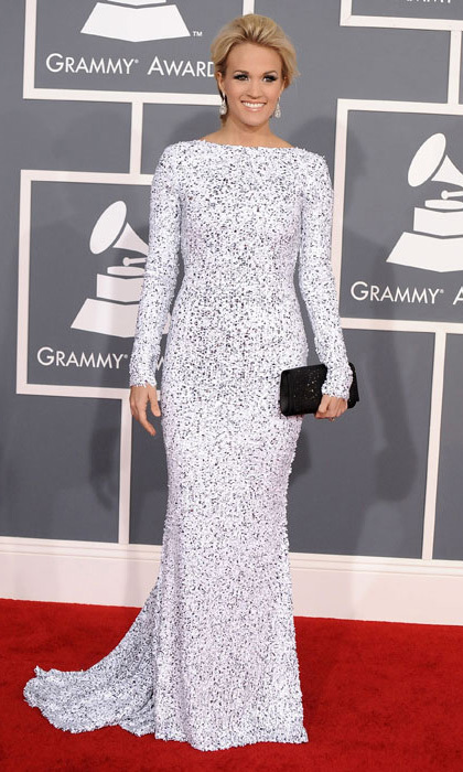 In 2012, Carrie Underwood stepped out in a long-sleeved gown by British designer Gomez-Garcia.