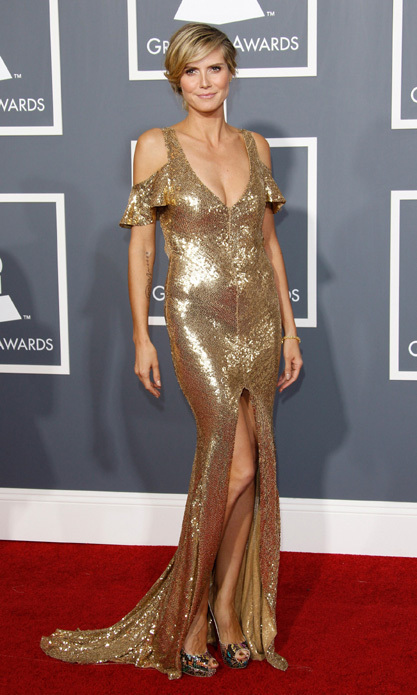 Heidi Klum was head to toe in gold at 2011's ceremony. The supermodel matched her glimmering Julien Macdonald creation with a golden pedicure.