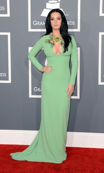 Alongside fellow singer Florence Welch, Katy Perry also chose green for the 2013 Grammys and was right on trend with a cutout key hole detail. 
