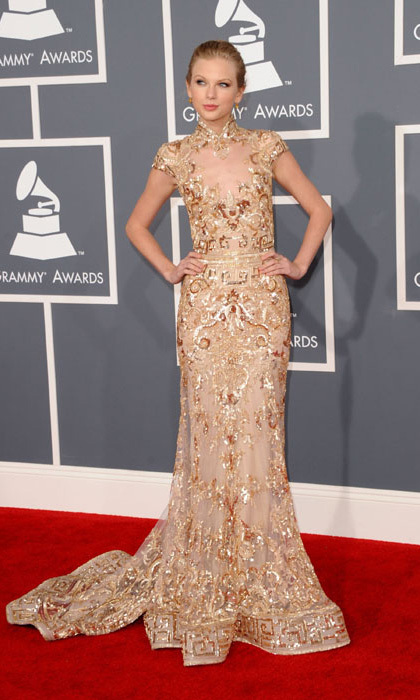 Taylor Swift was 2012's golden girl. The country singer stepped out in a glittering, high-collared gown by Lebanese designer Zuhair Murad and sported her blonde locks in an updo.