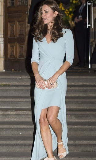 Kate made not one, but two appearances on her first day out since announcing her second pregnancy. She donned a light blue Jenny Packham gown as her first official red carpet look on October 21. 